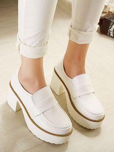 Pantofi albi Platforma PU | Choies