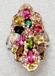 Elegant Colorful Silver Gemstone Ring For Women. See More Gemstone Rings at http://www.ourgreatshop.com/Gemstone-Rings-C890.aspx