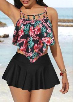 Rosewe Women Black Printed Cage Neck Swimwera Bathing Suit Asymmetric Hem Printed Swimwear Top and Black Pantskirt Summer Outfits, Casual Outfits, Cute Outfits, Beach Outfits, Cute Swimsuits, Women Swimsuits, Outfit Strand, Look Fashion, Fashion Outfits