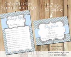 Well Wishes Card - Baby Shower Wishes for Baby - Blue Gray Chevron - Baby Boy - PRINTABLE CARD DESIGN via Etsy