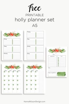 Holly planner calendar set | Christmas planner inserts | A5 and Personal size printables | #freeprintables #planner #filofax #christmas #printables