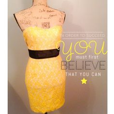 "HP X3Yellow Lace Dress With Black Bow I purchased this dress in a bundle on Posh. It's so cute but, much to my dismay, I do not have the tatas to hold it up. It has an elastic band around the top, but unfortunately that didn't help me. Being a small a cup makes life tough. But hey, maybe you can have better luck than I did :) It has a white liner under the yellow lace. Size small. HOST PICK ""City Chic Party"" on 10/19 // NO trades/paypal - ✅15% off bundles // Forever 21 Dresses"