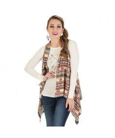 6ed8719af2 Wrangler Aztec Sweater Vest - Pink Brown Yellow Wrangler Clothing