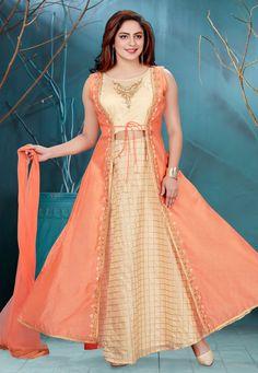 Cream Readymade Chanderi Lehenga Choli With Jacket Lehnga Dress, Lehenga Choli, Choli Designs, Blouse Designs, Kids Dress Patterns, Sewing Patterns, Indian Outfits, Indian Clothes, Bodice Pattern