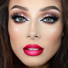 Makeup Ideas 2018 - Check out our favorite Neutral shimmery eyes & red ombré lips inspired makeup l. Cat Eye Makeup, Makeup Geek, Makeup Addict, Face Makeup, Beauty Makeup, Face Beauty, Makeup Style, Makeup Eyeshadow, Red Ombre Lips