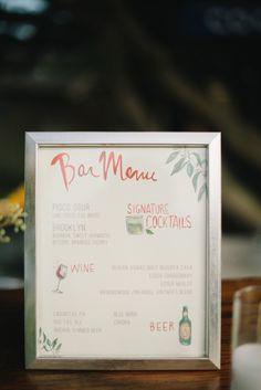 cute barn menu sign // photo by Delbarr Moradi, styling by Enjoy Events Co // http://ruffledblog.com/romantic-pescadero-wedding