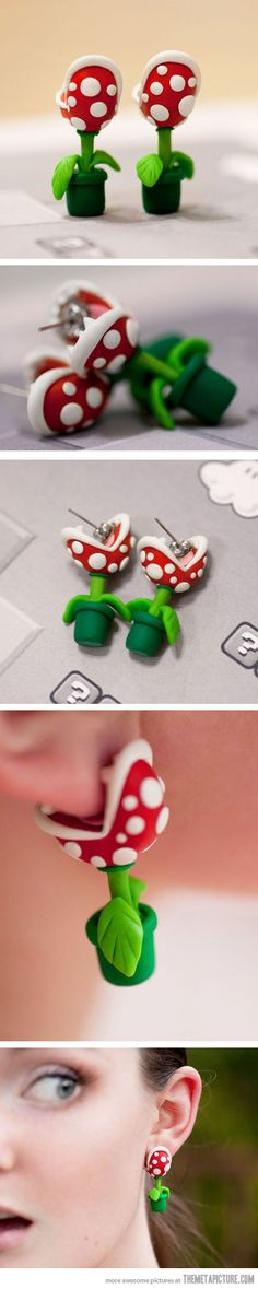 Funny pictures about Super Mario Piranha Plant Earrings. Oh, and cool pics about Super Mario Piranha Plant Earrings. Also, Super Mario Piranha Plant Earrings photos. Fimo Polymer Clay, Diy Fimo, Deco Originale, Bijoux Diy, Geek Out, Clay Charms, Biscuit, Geek Stuff, Girly