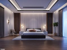 Interior design of master bedroom in contemporary style. We created this work for tendra design and contracting company. Interior Ceiling Design, House Ceiling Design, Ceiling Design Living Room, Bedroom False Ceiling Design, Master Bedroom Interior, False Ceiling Ideas, Bedroom Ceiling, Bedroom Pop Design, Luxury Bedroom Design
