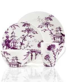 Scalamandre by Lenox, Toile Tale Amethyst 4 Piece Place Setting - Dinnerware - Dining & Entertaining - Macy's