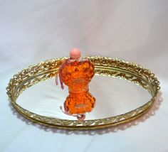 New to ChicMouseVintage on Etsy: Mirrored Vanity Tray - Gold Tone Ormolu -  Filigree Sides - Dresser Top - Hollywood - French Provincial (45.00 USD)