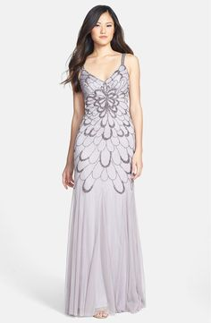 Adrianna Papell Beaded Backless Mesh Art Deco Gown - Heather Grey