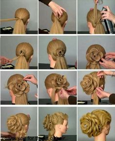DIY Amazing Rose Flower Bun Hairstyle For Parties Here is another hairstyle I would like to introduce to you if you have long hair. Rose Flower Bun Hairstyle is a great hairstyle for parties. Braided Hairstyles Tutorials, Bun Hairstyles, Wedding Hairstyles, Updo Hairstyle, Flower Hairstyles, Rihanna Hairstyles, Gorgeous Hairstyles, Hair Tutorials, Natural Hairstyles