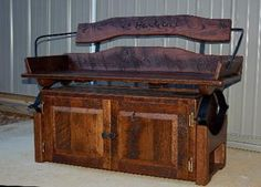 Reclaimed Barn wood Buckboard Buggy Bench. I would love to have something like this for my front porch!