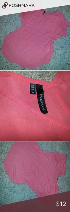 Maurices semi sheer high low M Maurices semi sheer high low M coral Maurices Tops