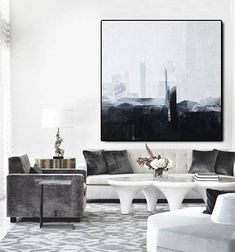 Large Oil Painting Abstract Black And White Art Gray Painting White Painting Gold Painting Living Room Art Abstract Painting Canvas Black And White Painting, Blue Painting, White Art, Texture Painting, Oil Painting On Canvas, Black Art, Black White, Painting Art, Large Painting