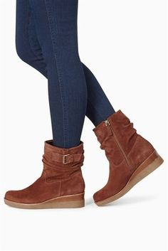 9fd76670a638d Buy Tan Leather Buckle Wedge Boots from the Next UK online shop Leather  Buckle, Tan