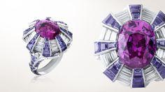 Chardon Secret ring, white gold, diamonds, pink gold, mauve sapphires, one 9.72-carat oval-cut pink sapphire - Van Cleef & Arpels