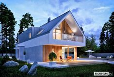 Projekt domu EX 20 Energo Plus - Small Modern House Plans, Modern Small House Design, Modern Barn House, Timber House, Tiny House Design, Style At Home, Modern Architecture House, Architecture Design, Self Build Houses