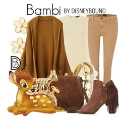 Bambi by leslieakay on Polyvore featuring Warehouse, AG Adriano Goldschmied, Akira, M&Co, Marc by Marc Jacobs, BaubleBar, disney, disneybound and disneycharacter