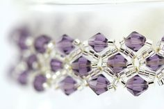 Crystal Bracelet : Violet Bouquet. Classic Amethyst and Crystal (Silver Lined) Beaded Double Trellis Bracelet with Toggle Closure