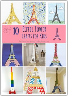 Celebrate one of the most iconic monuments in the world with these 10 Enchanting Eiffel Tower Crafts for Kids! Make crafts with straws, paper, bricks . Country Crafts, Easy Art Projects, Projects For Kids, Eiffel Tower Craft, Eiffel Towers, France For Kids, France Craft, Paris Crafts, India Crafts