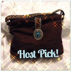 Host Pick Brown & Turquoise Suede Bag NWOT. Love it but I haven't had anywhere to use it. Gorgeous stone detail on handle and medallion that goes over the front of the bag. Cute animal print. Bags