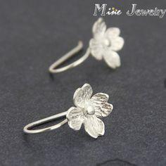 Thời trang Plata 925 Bạc Drop Bông Tai Hoa Earrings Jewelry Pendientes Brincos brincos de prata Đồ Trang Sức Thời Trang