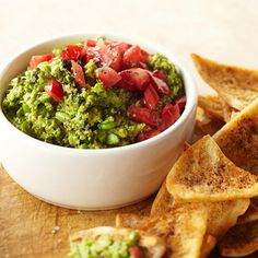 Edamame-Avocado Dip - Sweet soybeans are a brilliant addition to this healthier spin on guacamole.