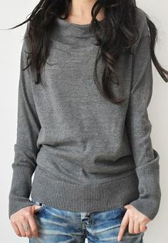 Grey Slouchy Pullover Sweater