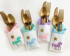 Cutlery Bags - Unicorn Party - Unicorn 1st Birthday - Princess Party - Unicorn Theme - Princess Party - Magical Birthday - Cutlery Holder