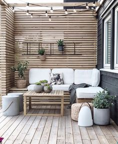 Outdoor Spaces, Outdoor Living, Outdoor Decor, Outdoor Sofa, Wooden Panelling, Interior And Exterior, Interior Design, Simple Interior, Nordic Interior