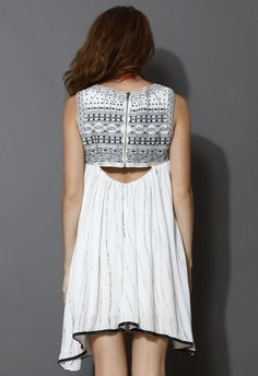 Mysterious Tribal Embroidered Sleeveless Dress - Dress - Retro, Indie and Unique Fashion