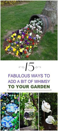 how to add whimsy to your garden to take away the boring blahs, and to make your garden a place people want to come back to!Learn how to add whimsy to your garden to take away the boring blahs, and to make your garden a place people want to come back to! Garden Crafts, Garden Projects, Garden Art, Diy Projects, Tree Garden, Garden Angels, Garden Beds, Terrace Garden, Diy Jardin
