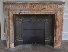 Beautiful antique Louis XIV style fireplace with acroterion in Sarrancolin Fantastico marble (Reference - Available at Galerie Marc Maison Louis Xiv, Antique Mantel, Architectural Antiques, French Interior, Architecture Details, Decoration, Jasper, 19th Century, Marble