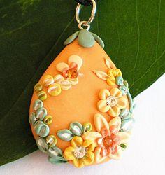 FREE SHIPPINGOrange flower garden pendantOOAK by FlowerLandShop, $43.00    Handmade polymer clay jewelry