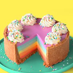 how to make this easy, no-bake, rainbow cheesecake!Learn how to make this easy, no-bake, rainbow cheesecake! A no-bake white chocolate rainbow cheesecake that's super simple to make! No-Bake Rainbow Cheesecake ~ Recipe Rainbow Cheesecake, Rainbow Desserts, Rainbow Food, Cute Desserts, Rainbow Things, Rainbow Cakes, Rainbow Sweets, Colorful Desserts, Colorful Food