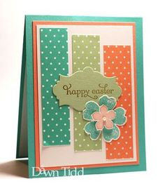 polka dot panels and die cut sentiment bracket, accented with layered pansy punch and petite petal