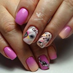 Bird nail art, Fashion nails 2017, French manicure ideas 2017, Nails with stones, Pink nails with patterns, Pink nails with stones, ring finger nails, Square nails