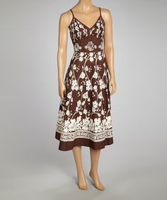 Look what I found on #zulily! Brown & White Floral Midi Dress - Plus by Magic #zulilyfinds