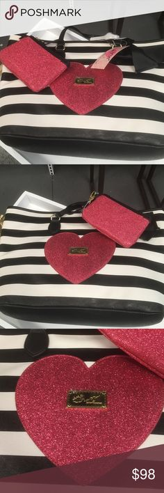 BEST IN BAGS SPECIAL Betsy Johnson Bundle AMAZING This is a special that ends at the end of the best in bags party you get the Valentines bag you get the Betsey Johnson cosmetic bag & two Betsey Johnson earrings . Beautiful black and white striped Bag  with a glittery red heart on the front with a gold medallion that says Luv 💞 Betsy. Comes with a matching wristlet that has the lips medallion It also says love Betsy this would be a perfect gift for Valentine's Day NWTS 18 inches wide 11…