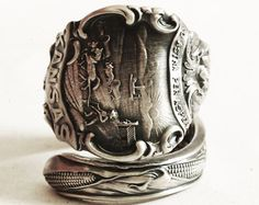 Spoon Ring Kansas Corn and Sunflower Souvenir Sterling Silver Ring, Handmade Jewelry in Adjustable Ring Size (5269)