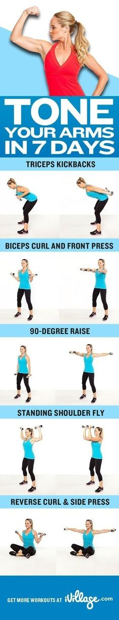 Tone your arms in 7 days with these easy workouts. #beauty