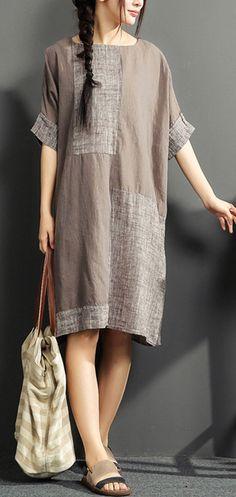 gray summer linen dresses patchwork oversize cotton sundress short sleeve shirt dress