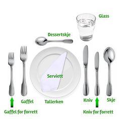 Hvordan dekker du et bord? Norway Culture, Communication Is Key, Free Dating Sites, Tinder, Me On A Map, Food And Drink, Tableware, Glass, Norway Language