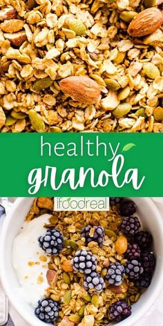 This Healthy Granola combines rolled oats, dried fruits, seeds, nuts, spices, and natural sweeteners. Loaded with flavour, this easy and delicious grab-n-go snack is a must-try! Easy Granola Recipe Healthy, Healthy Snacks, Healthy Recipes, Snacks For Work, Rolled Oats, Family Meals, Seeds, Snack Recipes, Spices
