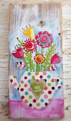 Mix It Monthly Art-Challenge: August / September Mixed Media Flowers Mixed Media Collage, Mixed Media Canvas, Art Journal Challenge, Drawing Challenge, Pintura Country, Arte Popular, Art Journal Inspiration, Whimsical Art, Medium Art