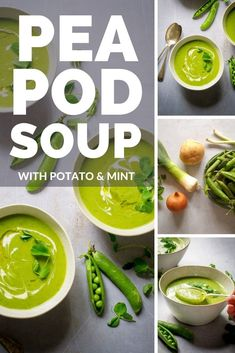 Peapod Soup with potato and mint