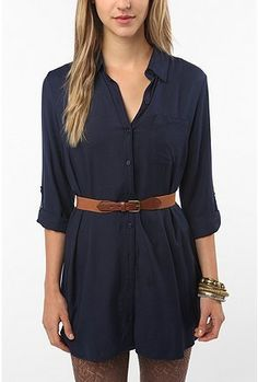 Sparkle & Fade Roll-Tab Shirtdress.