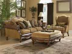 great couch | Tuscan decor | Pinterest | Traditional chairs, Wood ...