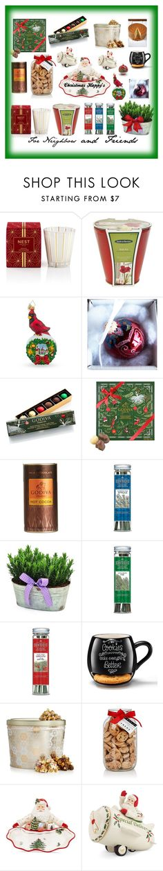 """""""My gift guide for neighbors and unexpected friends who drop by my home during the holidays , I always have extras of what I like to call Happys🎄🎅🎄"""" by deborah-518 ❤ liked on Polyvore featuring interior, interiors, interior design, home, home decor, interior decorating, Nest Fragrances, Smith & Hawken, Christopher Radko and Godiva"""